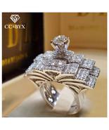 CC Wedding Rings Set For Women And Men Cubic Zirconia Luxury Jewelry Bri... - $10.88