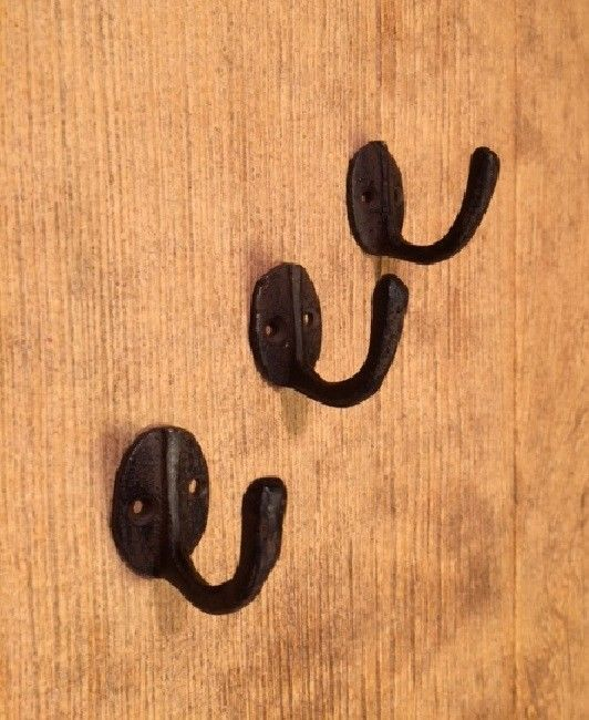 "Primary image for Small Cast Iron Robe Coat Hook Rust 1 1/2"" (Set of Three) Bath Decor 0170-01203"