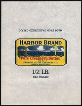 Vintage wrapper HARBOR BRAND BUTTER lighthouse Farmers Co-op Harbor Beac... - $8.99
