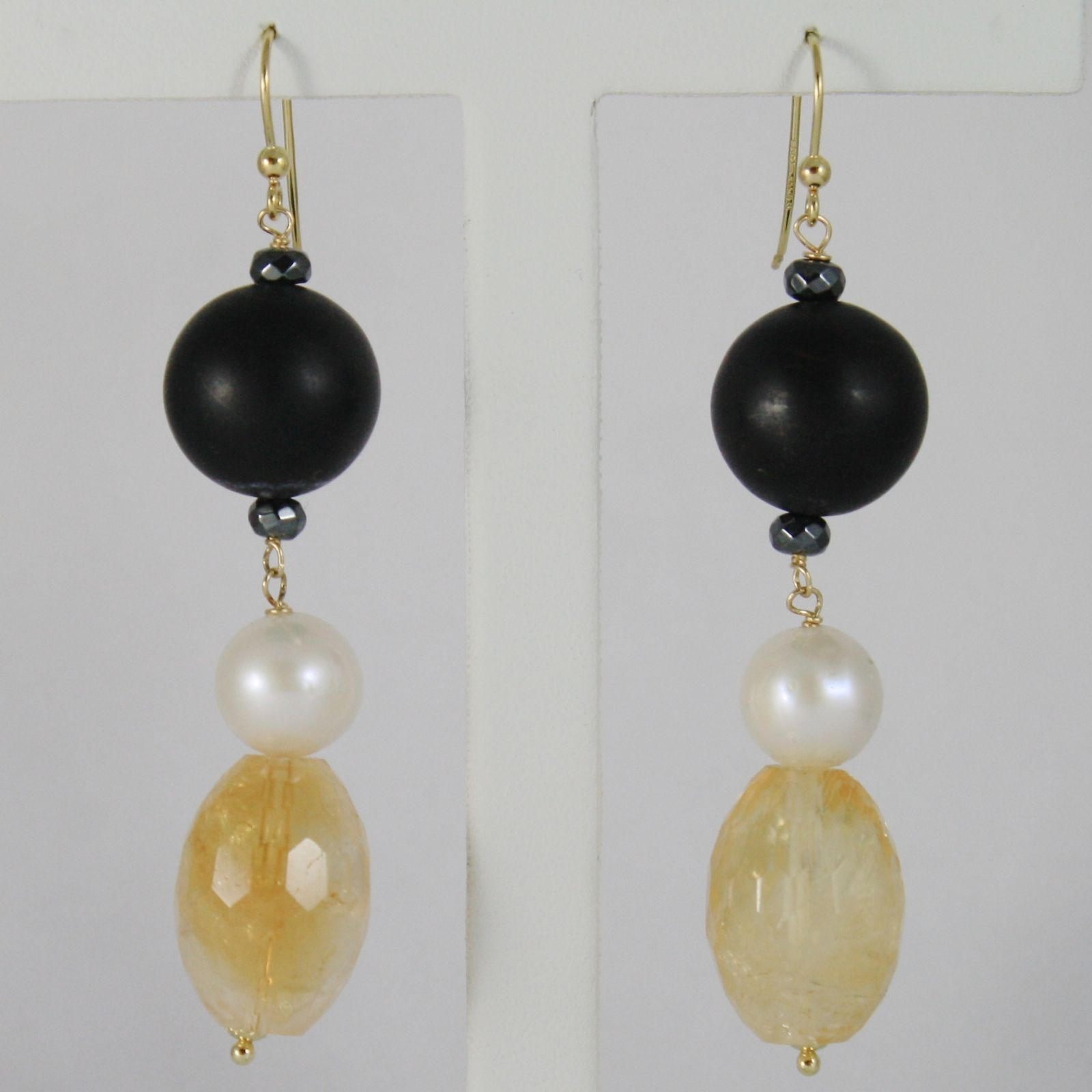 18K YELLOW GOLD PENDANT EARRINGS, CITRINE, SANDBLASTED ONYX, PEARLS, ITALY MADE