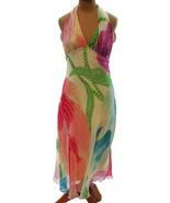 DIANE VON FURSTENBERG Pink Green Multi Abstract 100% Silk Deja Maxi Dres... - $121.51