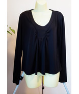 black long sleeve blouse womens top size large shirt Versailles ladies c... - $4.75