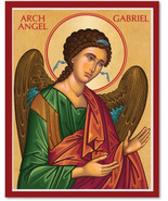 "Cretan-Style Archangel Gabriel Icon - 11"" x 14""  Wooden Plaques With Lum... - $81.95"