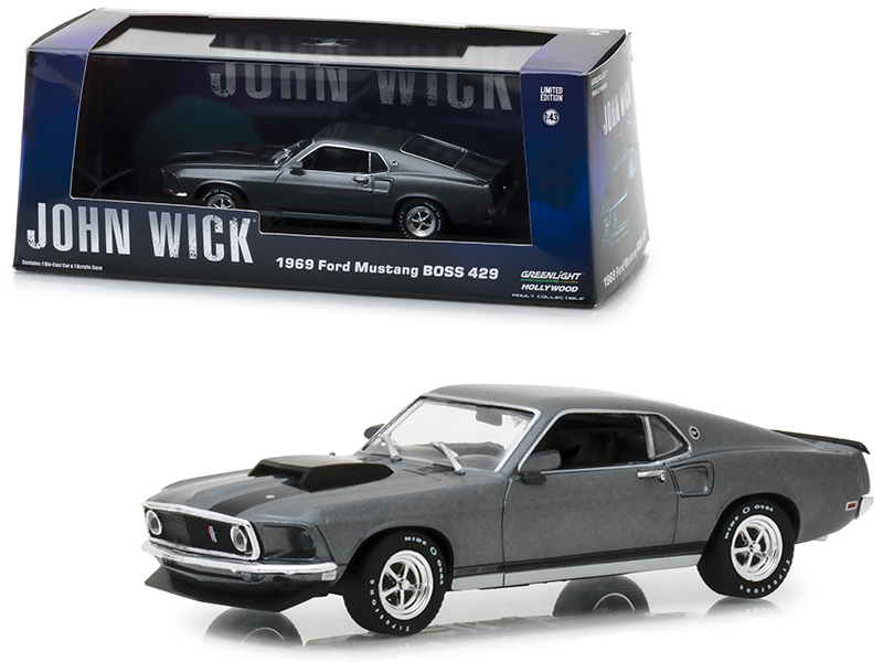 "1969 Ford Mustang BOSS 429 Gray with Black Stripes ""John Wick\"" (2014) Movie 1/"