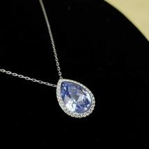 SWAROVSKI Silver Tone Chain Necklace w. Purple Teardrop Pendant Chic Cry... - $39.97