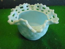 Beautiful FENTON  Blue Satin Basketweave Vase/Bowl......................... - $16.83