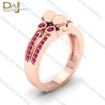 Day Of The Dead Skull Gothic Engagement Ring Solid 10k Rose Gold Skull J... - €630,49 EUR