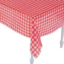 "Red And White Checkered Tablecloths (52"" x 90"") Plastic. - $5.22"