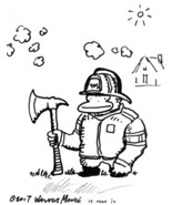 Firefighter Ape with Axe, Original Signed Cartoon by Walter Moore - $9.44