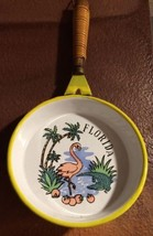 "VINTAGE TROPICAL PALMS FLORIDA ENAMEL SKILLET 5"" WALL DECOR FLAMINGO ALL... - $21.53"
