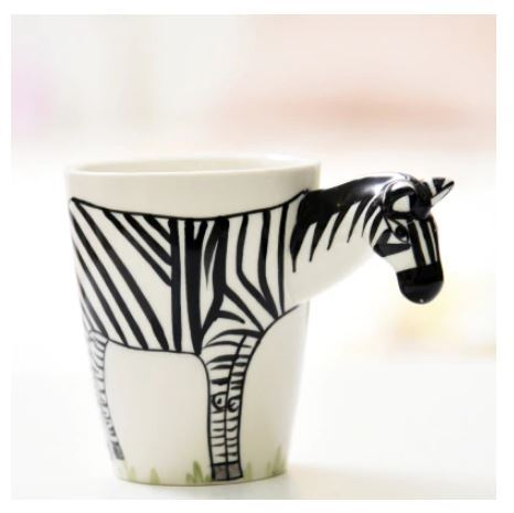 Zebra Mug 3D Animal Shape Hand Painted Gift Ceramic Coffee Milk Tea Mug