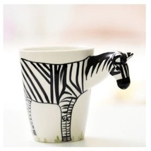 Zebra Mug 3D Animal Shape Hand Painted Gift Ceramic Coffee Milk Tea Mug - $27.75