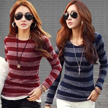 Nice Women Slim Thin Long Sleeve Pullover Striped Bottoming Tops
