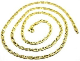 9K GOLD CHAIN TYGER EYE FLAT LINKS 3mm THICKNESS, 60cm, 24 INCHES, NECKLACE image 2
