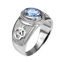 Sterlingsilber OM (AUM) Yoga März Geburtsstein Aquamarin cz Ring - $49.99