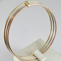 TRIPLE 18K ROSE YELLOW WHITE GOLD BANGLE RIGID BRACELET, SMOOTH, MADE IN ITALY image 1