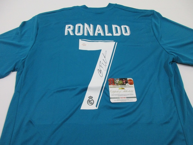 quality design 9bf28 1fb9c CRISTIANO RONALDO - HAND SIGNED REAL MADRID FLY EMIRATES SOCCER JERSEY - COA