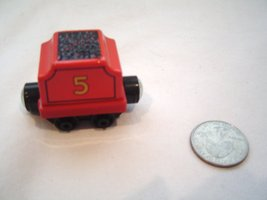 Thomas the Tank Train Die Cast Red # 5 Tender Coal Car Magnetic Wooden R... - $10.99