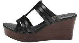 Women's Shoes UGG Australia MATTIE Platform Wedge Sandal Leather Black US 10 - $71.99