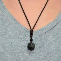Retro Weaving Necklace Obsidian Stone Lucky Pendant Jewelry - 1 Random image 3