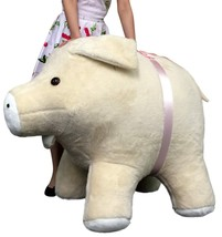 American Made Giant Stuffed Pig 40 Inch New Brown Soft Plush Hog Made in... - $197.10