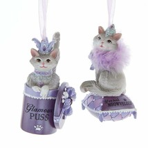 KURT ADLER SET OF 2 ROYAL SPLENDER CAT IN PURSE CHRISTMAS ORNAMENTS T2768 - $24.88