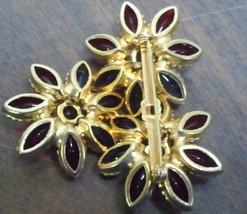 Vintage Glass Round & Navette Cabochon Floral Brooch Demi Set image 2