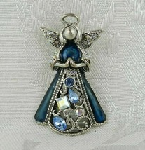 "Vintage Angel Brooch Pin 1.75"" Silver Filigree Clear & Blue Stones - $15.83"