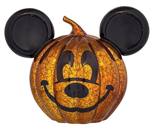 Disney Parks Halloween Mickey Light Up Glass Pumpkin New with Tags