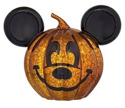 Disney Parks Halloween Mickey Light Up Glass Pumpkin New with Tags - €28,68 EUR