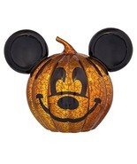 Disney Parks Halloween Mickey Light Up Glass Pumpkin New with Tags - £25.47 GBP