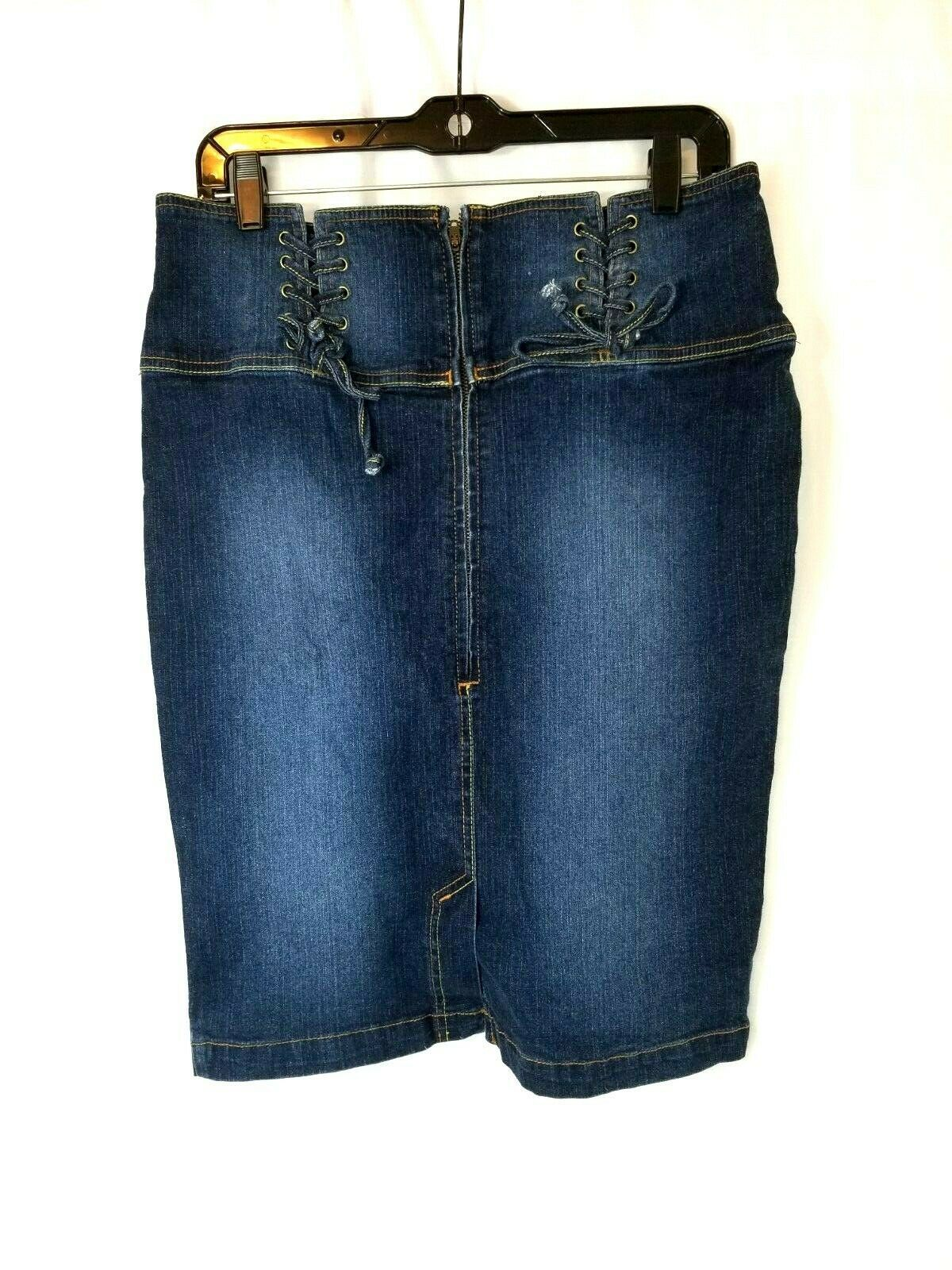 Primary image for Baby Phat Womens Blue Jean Skirt Size 11 Denim Dark Wash Half Zip Laced up Top