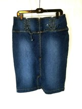 Baby Phat Womens Blue Jean Skirt Size 11 Denim Dark Wash Half Zip Laced ... - $18.69