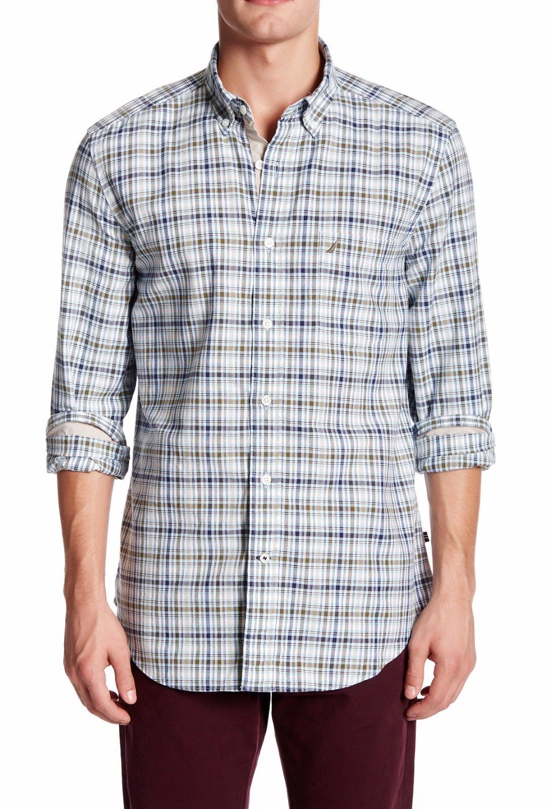 NEW MENS NAUTICA LONG SLEEVE PLAID COTTON BUTTON FRONT SHIRT $69