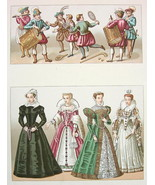 EUROPE Renaissance Costume Royal Court Ladies - COLOR Litho Print by Rac... - $12.15