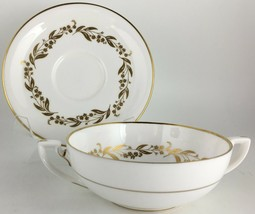 Royal Worcester Saguenay Cream soup bowl & saucer  - $20.00