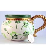 Vintage Irish shamrock cup mug St Patrick's Day gold rope handle unsigned - $18.00
