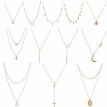 Dremcoue 12 Pcs Gold Choker Necklace for Women Girls Handmade Layered Da... - $13.41