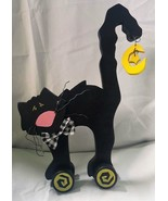"Wooden Black Cat With Wheels w/ Yellow Dangle Moon star  11 1/2"" Halloween - $12.95"