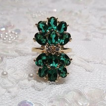 Vintage HSN Gold Technibond Sterling Silver Lab Created 10 CARAT Emerald... - $26.71
