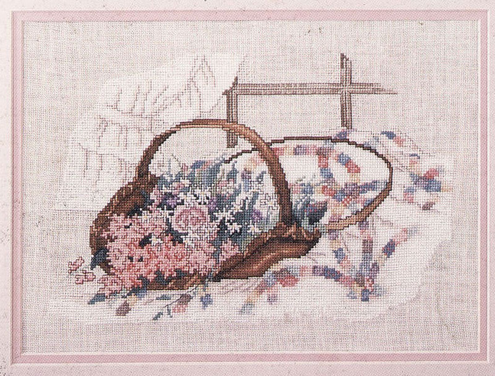 Primary image for Vintage 1987 Cross Stitch Wedding Ring Bouquet Paula Vaughan Bridal Gift Pattern