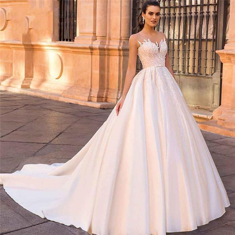 Illusion lace appliques satin wedding dresses bridal gowns custom made long bridal gowns robe de