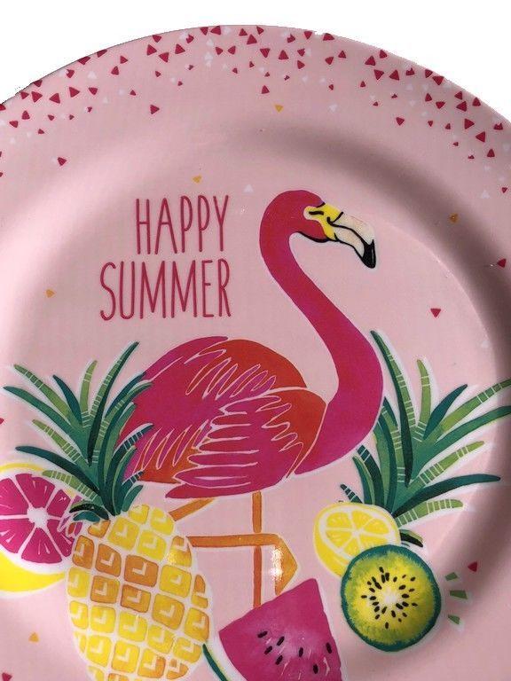 "Flamingo Tropical Melamine Dinner Plates 10.5"" Lunch Appetizer Dessert set of 4"