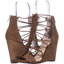 Jessica Simpson Beccy Fringe T-Strap Wedge Sandals 540, Canela Brown, 10 US / 40 - $28.79