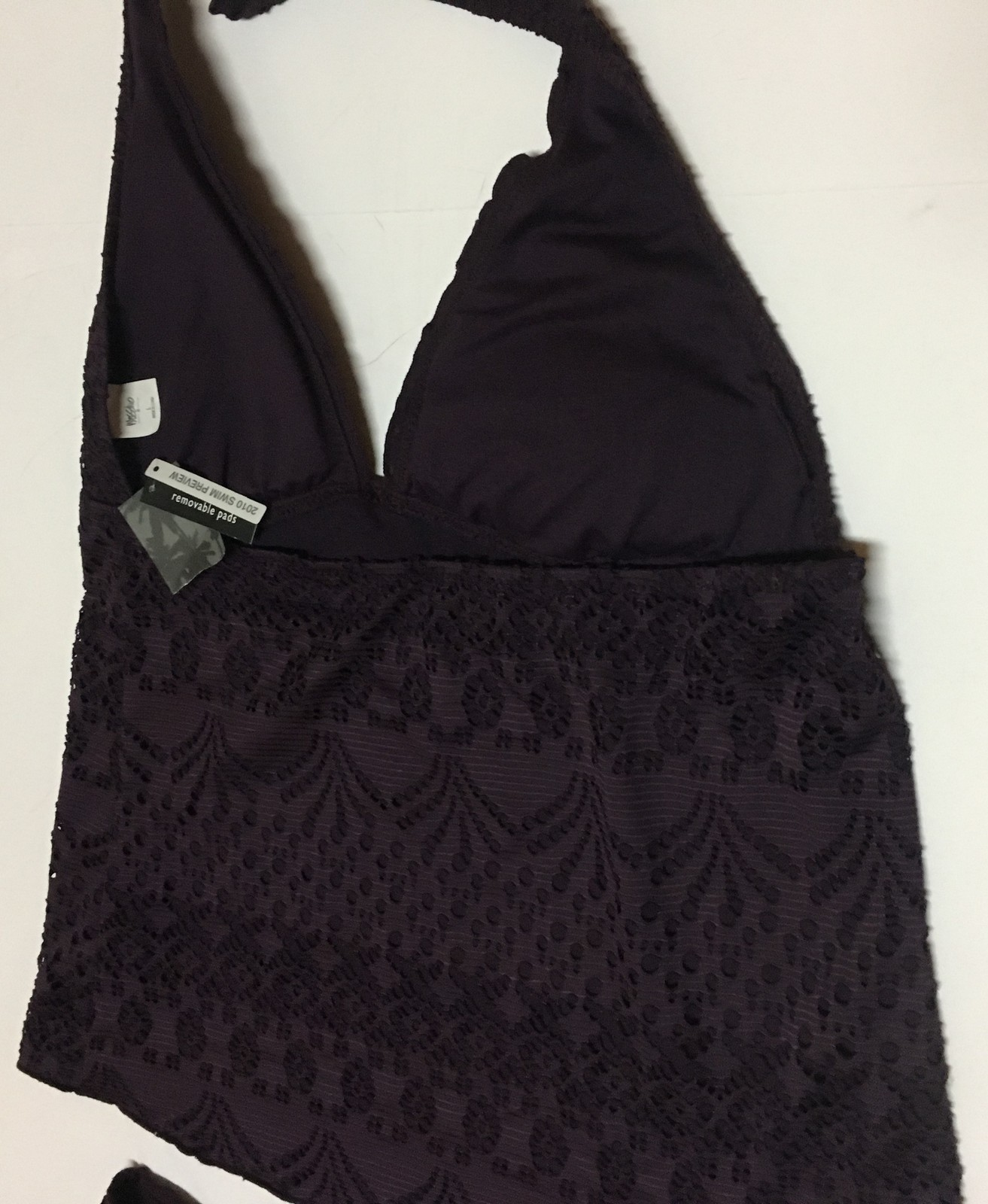 Mossimo Dark Purple Lace Two Piece Swimsuit L/XL NWT