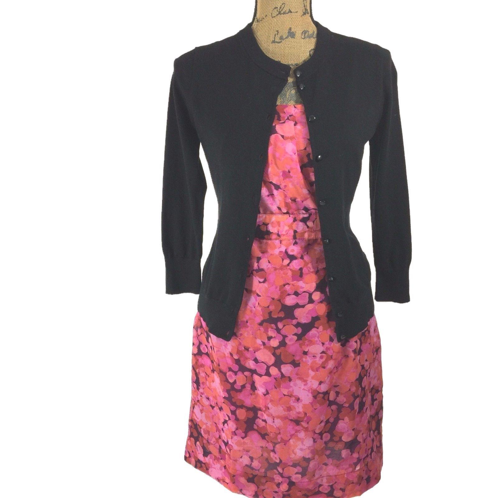 SET Ann Taylor LOFT Dress J.Crew Clare Cardigan Sweater Pink Purple Black 2 S LN