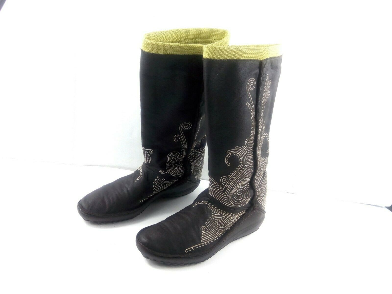 Puma Women's Boots Monsoon Tall Leather Embroidered Brown/Green Booties 7.5 W image 4
