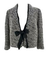 Ann Taylor Women's Black Cotton Blend Tweed Knit Cardigan Sweater Size 8 - $17.82