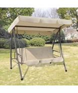 Outdoor Porch Swing Chair Garden Bed Canopy Sand Waterproof Backyard Fur... - $283.52