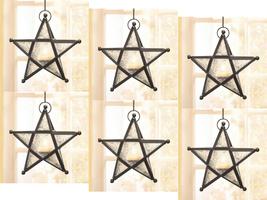 Six (6) wrought iron frame white glass hanging star candleholder lantern... - $43.00